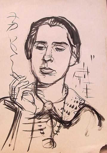 Erich HARTMANN - Dessin-Aquarelle - #19907: Rauchende Frau im Profil.
