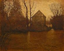 Carlos ESTEBAN - Painting - La maison de l'étang (ocre)    (Cat N° 3451)
