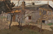 Vladimir Davidovic BARANOV-ROSSINÉ - Painting - A View of the House