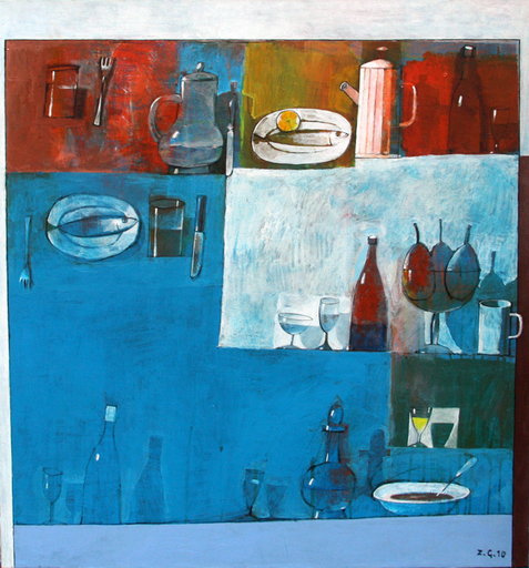 Zurab GIKASHVILI - Painting - Still life in blue