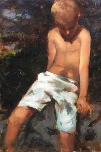 Henry Scott TUKE - Pintura - Young boy in his thoughts