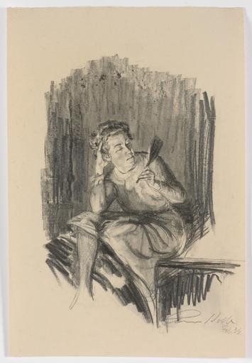 "Alois KOLB - Dibujo Acuarela - ""Woman with hand mirror"" by Alois Kolb"