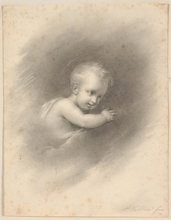 """Alexandre Marie COLIN - Dibujo Acuarela - """"Child in Clouds"""", 1818, Drawing"""