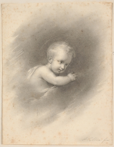 "Alexandre Marie COLIN - Dibujo Acuarela - ""Child in Clouds"", 1818, Drawing"