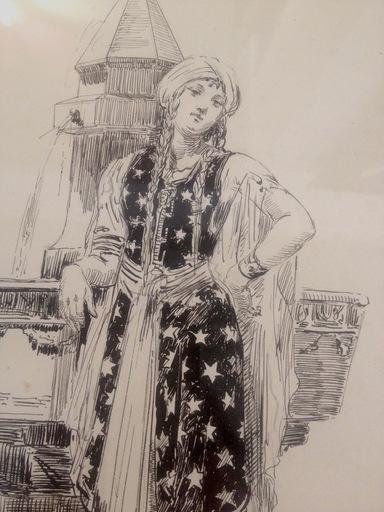 Ulpiano CHECA Y SANZ - Drawing-Watercolor - La Sultane - La Sultana - Espagne - España