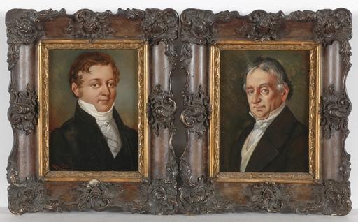"Giovanni POLLI - Miniature - ""Father and Son"", Two Oil on Tin Portrait Miniatures"