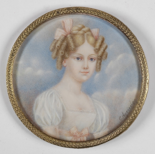 "Karl Josef Aloys AGRICOLA - Miniatura - ""Portrait of a Young Lady"", Miniature on Ivory"