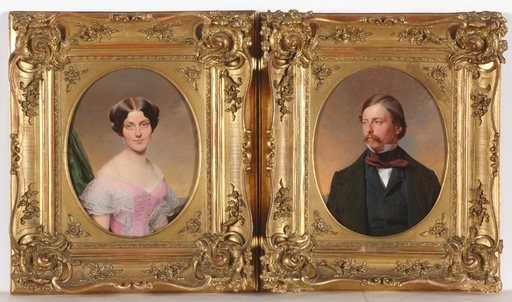 "Franz EYBL - Peinture - ""Two Portraits of a Married Couple"", 1851, Oil on Panel"