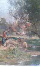 Karl Adam HEINISCH - Painting - Landscape with Sheep and Shepherdess by the River