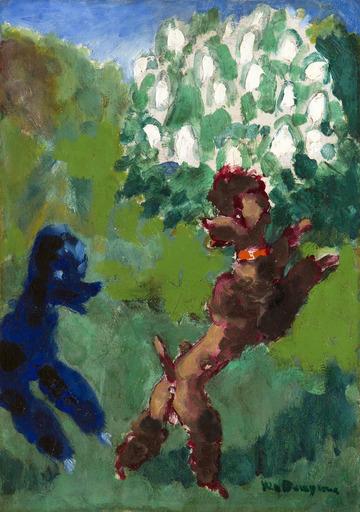 Kees VAN DONGEN - Gemälde - Deux caniches jouant