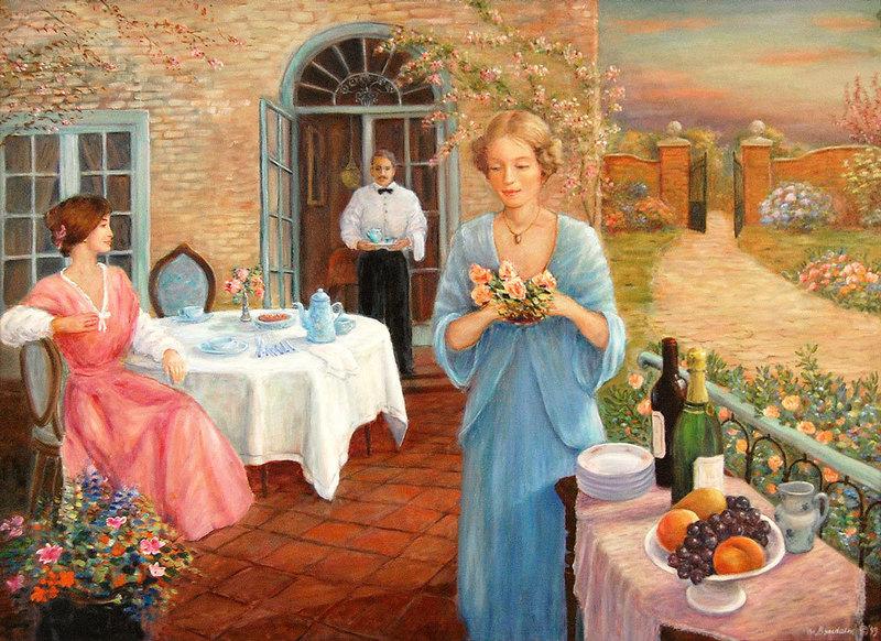 Monique BAUDAUX - Painting - Tea time