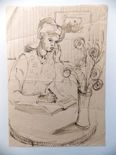 Jean SOUVERBIE - Dibujo Acuarela - LA LETTRE D AMOUR