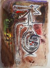André MASSON - Drawing-Watercolor - Loup dévorant un oiseau
