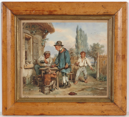 "Emmanuel Adolphe MIDY - Drawing-Watercolor - ""Important visit"", watercolor, 1830/40s"
