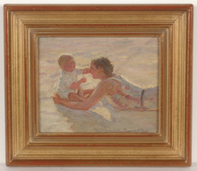 """Arthur MARKOWICZ - Pintura - """"Mother with Child at the Beach"""", Oil on panel, 1900/03"""