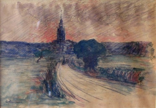 Gustave LOISEAU - Disegno Acquarello - La route vers le bourg