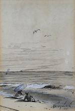 伊凡•康斯坦丁诺维奇•艾瓦佐夫斯基 - 水彩作品 - A couple on a shore