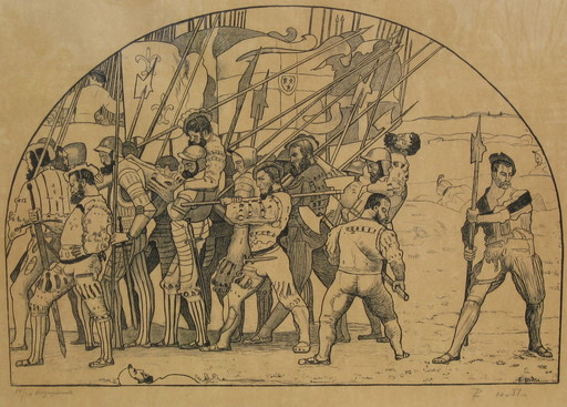 Ferdinand HODLER - Grabado - Rückzug aus Marignano