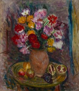 Charles CAMOIN - Pintura - Nature morte au vase de fleurs et fruits
