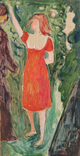 Edvard MUNCH - Painting - Woman in a Red Dress