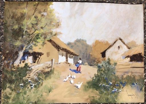 Antal NEOGRADY - Drawing-Watercolor - Ferme avec oies