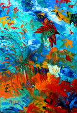 Marie-France BUSSET - Peinture - LE COQ AU JARDIN D'EDEN