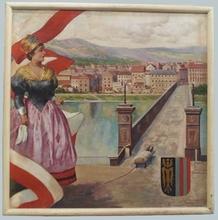"Josef BRUNNER - Painting - ""Linz in Austria"", Oil Painting, 19030's"