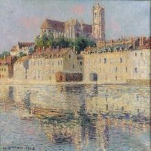 Gustave LOISEAU (1865-1935) - Cathédrale d'Auxerre et les bords de l'Yonne
