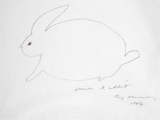 Cy TWOMBLY - Disegno Acquarello - White Rabbit - Suite di 4