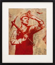 Shepard FAIREY - Painting - HIGH FLYIN BIRD RUBILITH