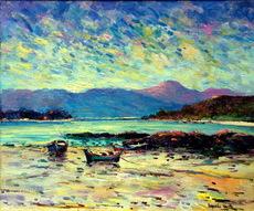 Leopoldo FERNÁNDEZ VARELA - Pintura - lanchas en la orilla