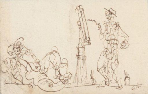 Georges BRAQUE - Drawing-Watercolor - Le peintre et son modèle