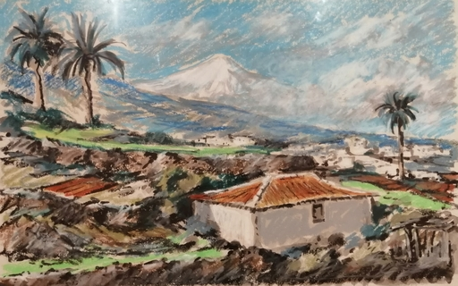 Edmond Amédée MELOT - Dibujo Acuarela - Santa Ursula - Tenerife - Las Canarias