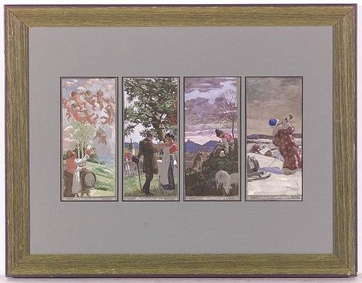 """Anton MARUSSIG - Dessin-Aquarelle - """"Four Seasons"""" by Anton Marussig, ca 1910"""