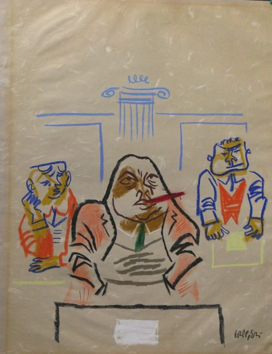William GROPPER - Dibujo Acuarela - *Senate Chamber