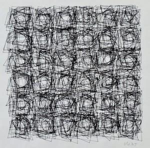 Véra MOLNAR - Drawing-Watercolor - serie structure de quadrilatères