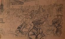 Louis SABATTIER - Drawing-Watercolor - Le Café de la Paix en 1917
