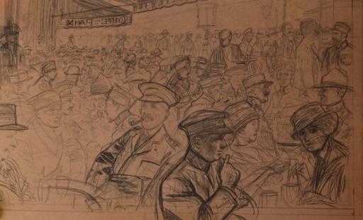 Louis SABATTIER - Dibujo Acuarela - Le Café de la Paix en 1917