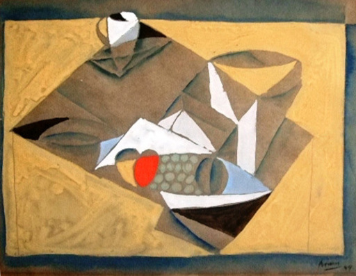 Gottlieb Michael ARAM - Drawing-Watercolor - Still life (Hommage to Picasso)