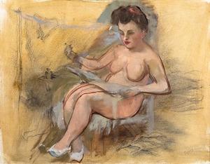 George GROSZ - Peinture - Seduta nuda