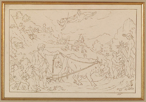 "Josef VON FÜHRICH - Dibujo Acuarela - ""From the Cycle ""Ovid's Metamorphoses"", ca 1820"