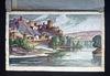 J.Mario PÉROUSE - Drawing-Watercolor - La Voûte Chilhac et l'Allier au printemps