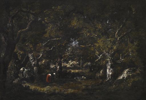 Narcisse Virgile DIAZ DE LA PEÑA - Painting - Vieux Chenes, Rochers, Fagotiere et Petite Mare