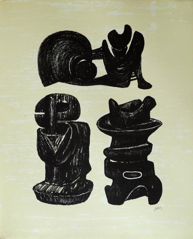 亨利•摩尔 - 版画 - Three Sculptural Forms, from: Poetry   La Poésie