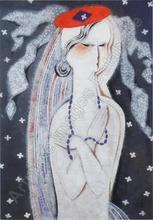 Béla KADAR - Pintura - Woman with Blue Necklace