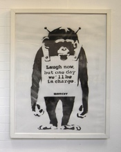 """BANKSY - Pittura - """"Laugh Now but one day we´ll be in charge"""""""