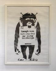 """BANKSY - Pintura - """"Laugh Now but one day we´ll be in charge"""""""