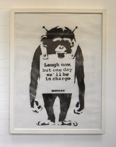 "BANKSY - Pintura - ""Laugh Now but one day we´ll be in charge"""