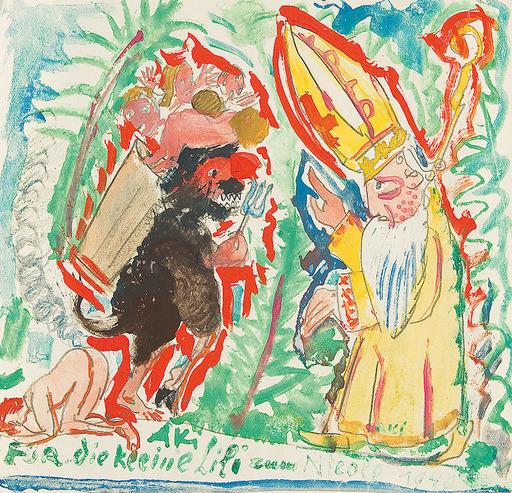 Oskar LASKE - Zeichnung Aquarell - Nikolo und Krampus, 1940