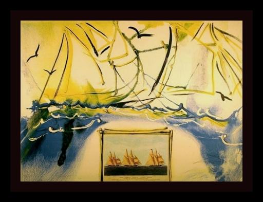 Salvador DALI - Grabado - Currier & Ives American Yatching Scene